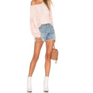 Free People Baby Pink Velvet Pullover